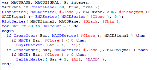 MACD code snippet